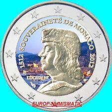 """MONACO 2012  2 EUROS """" LUCIEN 1er """" COULEUR/COLOR/ KLEUR/COLORIERT"""