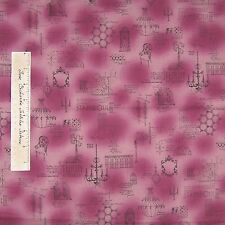 Modern Style Fabric - French European 1930s Decor Purple - Lecien Cotton YARD