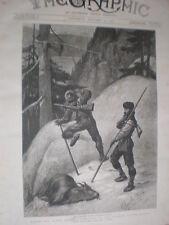 Mountain Goat caza en Columbia Británica de Canadá 1890 antiguos impresión por C E Inglés