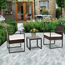 3Piece Outdoor Patio Rattan Wicker Furniture Set Cushion Sofa Chair Coffee Table