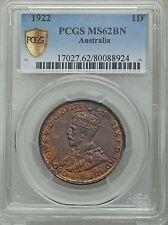 Australia 1922 Penny PCGS MS62 BN impossible grade