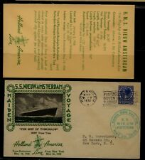 Netherlands  SS  New Amsterdam ship cachet cover  1938         MS1214