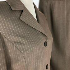 Kasper Women Suit 2 Pc Skirt Blazer Pockets Pinstripe Brown Size 8
