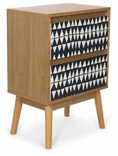 Noosa scandi black white timber bedside table bedsides PAIR x 2