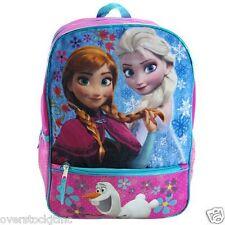 """Licensed Disney Frozen Olaf Elsa Anna 16"""" Backpack Lower Front Pocket Pink Blue"""