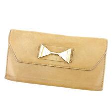Chloe Wallet Purse Long Wallet Beige Gold Woman Authentic Used L1340