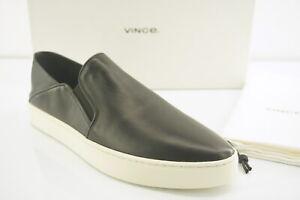 Vince Black Leather Garvey Slip-on Sneaker Size 9.5 NIB Flats Collapsible-back