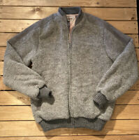 Vintage Tundra Men's Long Sleeve Wool Knit zip Up Coat Sweater Size XLT Grey