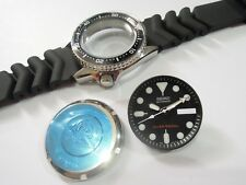 NEW REPLACEMENT SEIKO BLACK CASE,CROWN,DIAL,HANDS,STRAP FITS DIVER'S 7S26-0030