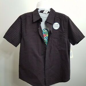 Boys Black Red Stripe Button Down+Tee Shirt 2 Piece Top 3 Looks In One XS