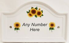 Sunflowers House Door Plaque Ceramic Sign Any Number Available Hand Decorated UK