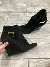 Tory Burch Wedge Booties Boots Size 8.5 Black And Gold Hardware Shoes