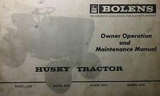 Bolens 1000 Lawn & Garden Tractor Owner & Parts (2 Manuals) 30pg Repair Husky