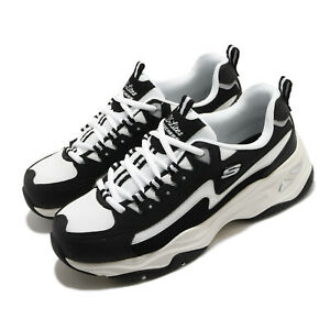 Skechers D Lites 4.0 Black White Women Casual Lifestyle Shoes Sneaker 149491-BKW