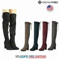 DREAM PAIRS Womens Ladies Over The Knee Boots Block Heel Winter Boots