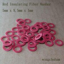 50pcs Red Insulating Fiber Washers (5mm x 9.5mm x 1mm)