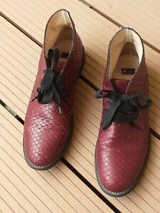Leather boots reptilе imitation Bata sz.41/10 burgundy