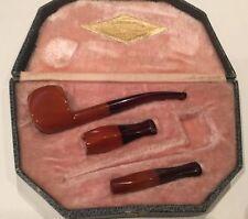 ANTIQUE AMBER BAKELITE ART DECO PIPE & ORIGINAL CASE