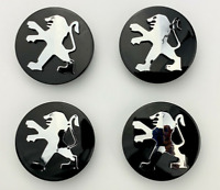 4pcs 60mm Peugeot Black Wheel Center Caps Hubcaps Emblems Badges Rim Caps Decals