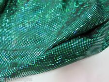Green Shattered Glass Holographic print Spandex fabric sold by the Yard