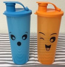 Tupperware Straight Sided Tumblers Set Of Two 16oz Tumblers Blue & Orange New