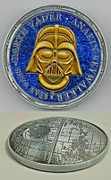 3D Death Star Wars Gold Silver Coin Darth Vader Sci Fi Films Rise of Skywalker