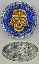 3D Death Star Wars Gold Silver Coin Darth Vader Sci Fi Films Rise of Skywalker