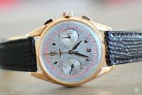 1957 Longines 6595 Cal 30CH 18K Rose Gold Flyback Chronograph 37mm RARE w/ Box