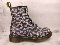 Doc Martens 1460 Floral Smooth Leather Eight Eyelet Lace Women Combat Boots Sz 7
