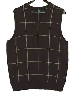 Vintage Callaway Golf Pullover Sweater Vest Merino Wool Plum Purple Windowpane L