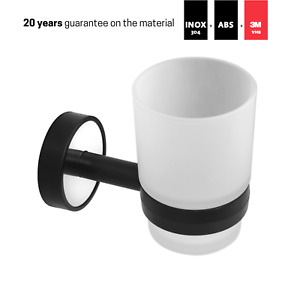 Toothbrush Holder,Frosted Glass Tumbler,Stainless Steel,Self Adhesive,Made in EU