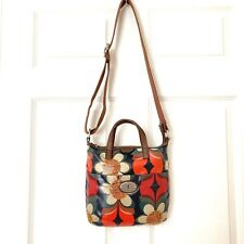 Fossil Crossbody Convertible Leather Floral Key-Per Bag Medium EUC