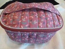 "Commuter Station - Cosmetic Case - Pink w/leaf design - 8 1/2 x5 1/4 x 4 1/4"" -"