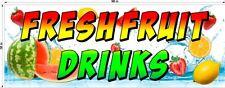 3' X 8'  VINYL BANNER FRESH FRUIT DRINKS WATERMELON STRAWBERRY LEMON