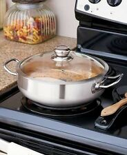 4-Qt. Stainless Steel Dutch Oven Pot Vented Glass Lid Kitchen Cookware