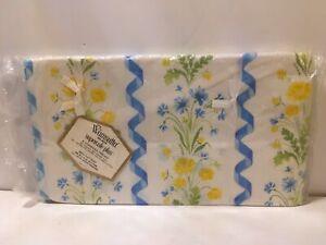 Wamsutta Supercale Penobscot Yellow Floral Twin Flat Sheet Vtg NOS Ribbon Stripe