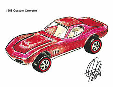 Hot Wheels 1968 Chevy Corvette Redline Car Racing Print Poster Wall Art 8.5x11