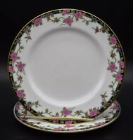 """(2) Aynsley English Multicolored Flowers & Gold 7"""" Dessert Plates (A2749)"""
