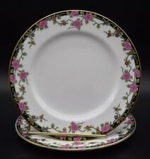 "(2) Aynsley English Multicolored Flowers & Gold 7"" Dessert Plates (A2749)"