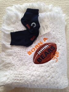 Embroidered Cotton BORN A chicago BEARS FAN Socks Baby Blanket Set football NEW