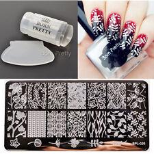 3Pcs Nail Art  Stamping Plate 15ml Silver Polish Stamp Stamper Scraper