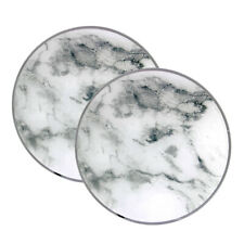2pcs White Smooth Marble Stone Style Glass Candle Plates Tealight Centerpiece