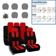 9 Pcs Car Seat Cover Red Sports Complete Full Set For Auto SUV Truck Van Vehicle