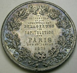 PRUSSIA (German State) Siege & Capitulation of Paris 1871 Medal - Tin - 2356 *