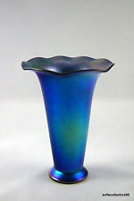 Lundberg Cobalt Luster (Out) / Colbalt Stretch (In) Floriform Trumpet Vase