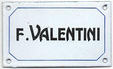 Old French enamel steel building door gate sign plaque notice name F Valentini