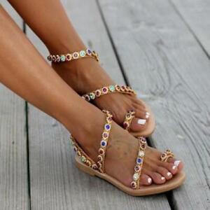 Women's Chic PU Leather Rhinestone Slingback Thong Flat Beach Sandals Shoes SUNS