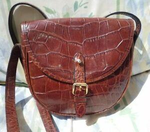 Marks & Spencer Vintage St. Michael Tan Croc Crossbody Saddle Bag