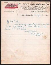 1917 IXL Tent & Awning Co - Wagon Covers - Uniforms - Los Angeles Ca Letter Head