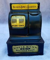 Antique Uncle Sam's Cash Register Coin Bank with Lever Works Well Black